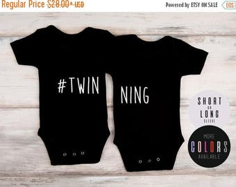 LATE SHIP SALE Twin Baby Clothes, Set of 2 Mathing Bodysuits, Cute Twin Outfits, Funny Twin Baby Shower Gifts, Twin Boys, Twin Girls, More C