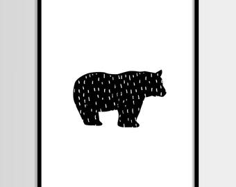 Bear print, Scandinavian print, Wall decor, Kids room, Printable Wall Art, Kids print, Digital print, Instant Download 8x10
