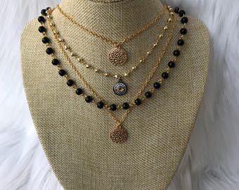 4 layered necklace set