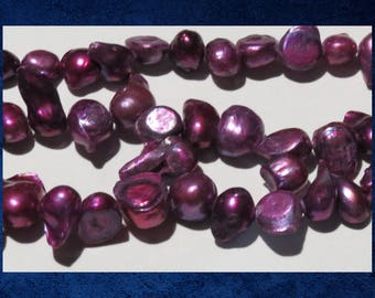 """Pearl, Dark Pink - 16"""" strand of small double baroque freshwater pearl beads.  #PERL-321"""