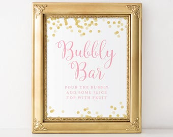 Bubbly Bar Sign, Mimosa Bar Sign, Drink Station Sign, Wedding Sign, Bridal Shower Sign, Baby Shower Sign, Bachelorette Party Decor