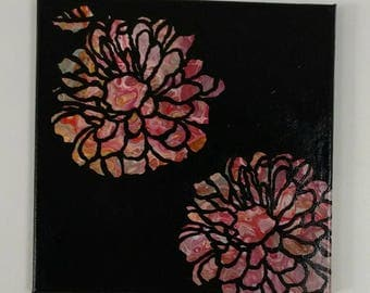 """fluid painting with negitive stenciling and painted by hand 12"""" x 12"""""""