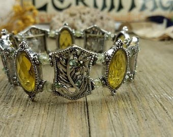 Yellow, Green, and Silver Stretch Vintage Bracelet with Glass Beads