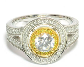 GIA Double Halo Diamond Engagement Ring 18k Two-Tone Gold 1.47ct G/VVS2 SZ 6.25