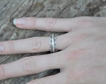 Silver Ring, Flower Ring, Stacking Rings, Silver Wide Band Ring, Band Ring, Rustic Ring, Boho Ring, Bohemian Ring, Tribal Ring