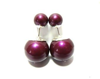 Sterling Silver Tribal Style Double Pearl Earrings. Swarovski Pearls. Deep Berry Pink.