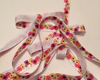 Rose Elastic for Headbands/Fold Over Elastic by the Yard/Elastic Hair Tie/Floral Headband Elastic/Daisy FOE/Rose FOE/Gerbera Daisy FOE