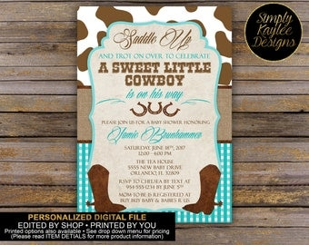 Rustic Cowboy Baby Shower Invitation