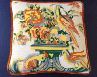 Handmade Needlepoint Pillow Bird Motif With Orange Yellow Green