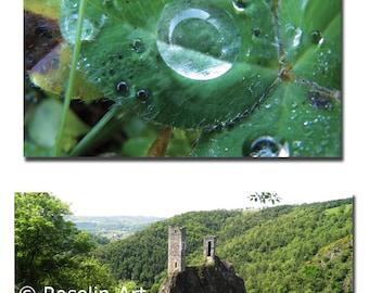 Lot 2 postcards, raindrops, Peyrusse le rock (Aveyron)