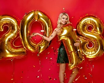 New Year's Eve 2018 - New Year'Eve Decoration - 2018 Gold Foil Balloons Decoration - nye decor, nye party, nye decorations, nye 2018 Mylar
