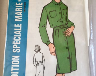 "UNOPENED Fabulous 60's french vintage sewing pattern - ""Patrons Marie Claire 3315"" Collar dress with button pockets  woman size 16 taille 44"