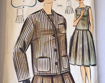"Fabulous 60's french vintage sewing pattern - ""Patrons de Paris 1798"" woman set of tailored jacket and pleated dress size 44/size 16"