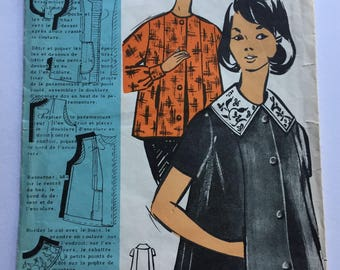 """Fabulous 50's french vintage sewing pattern :  Maternity Woman buttoned shirt with double collar - size 16 taille 44 """"Patron modele 68022"""""""