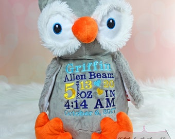 Embroidered Grey Owl, Personalized Stuffed Owl, Cubbie, Birth Announcement, Baby Shower Gift,