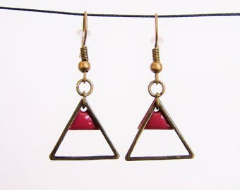 Raspberry red enamel triangle and brass triangle earrings