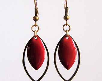 Brass ring and earrings red enamel sequin