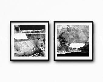 Black White Wall Art Abstract, Watercolor Set Stripes, Paint Splatter Ink Painting,  Printable art Minimalist, Minimal Boho Decor , set of 2