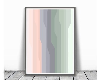 minimalism art, Abstract printable , Large Wall Art , Modern Art, lines abstract, geometric abstract, light green and peach, voilet and mint