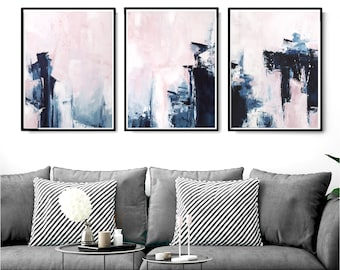 Pink & Navy Blue Triptych Wall Art, Set of 3 Prints, abstract 18x24, Digital Download, Modern Poster, Abstract Wall Art, , Scandinavian Art