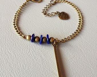 Fine bracelet blue lapis lazuli and bronze metal, creating Leamorphoses