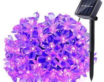 50 LED Solar Lights, 22ft Blossom String Lights Decorative Lighting, Garden, Xmas Tree, Party, Holiday, Purple