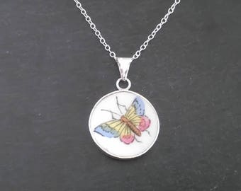 Butterfly Pendant, Butterfly Necklace, Broken China Jewellery, Sterling Silver Pendant Necklace, Broken China Jewelry, Butterfly Jewellery