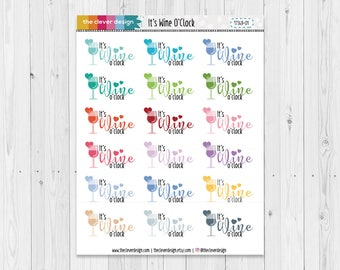 Wine Planner Stickers | It's Wine O'Clock | Wine Time | Planner Stickers | 17349-01