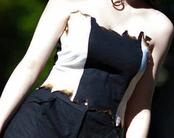 Strapless black & white linen