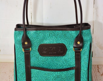 Turquoise Tooled Faux Leather Large Tote