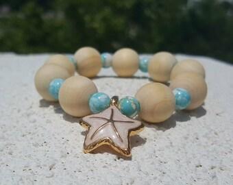 Starfish Bracelet * Jasper Bracelet * Blue Picture Jasper and Wood Bracelet * Beach Bracelet