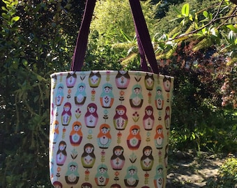Little Matryoshka Dolls Tote Bag, Matryoshka Dolls, Russian Dolls Tote Bag, Tote Bag, Bag, Tote, Lined Tote Bag, Modern Tote Bag, Modern Bag