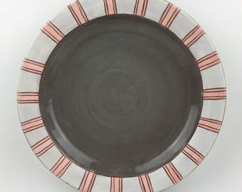 White Striped Dinner Plate