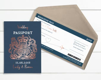 """Navy & Rose Gold Foiled """"Effect"""" Passport/Boarding Pass // Wedding Invitation // Sample Only // Printed Copies or Print Yourself // #4014"""