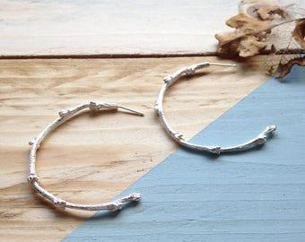 Twig hoop earrings in silver   Handmade twig earrings in recycled sterling silver   Recycled packaging   Eco-friendly gift.