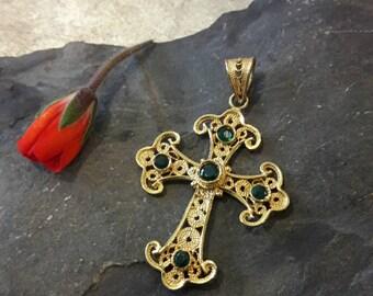 Beautiful Vintage 18KT Solid Gold Real Emerald Filigree Cross Pendant