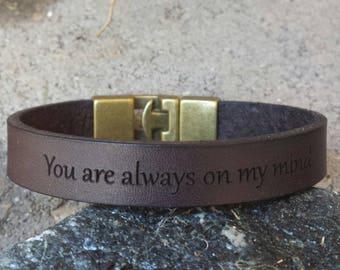 FREE SHIPPING-Bracelet For Men, Custom Men Bracelet, Leather Men Bracelet, Unisex Custom Bracelet, Leather Band Engraved, Custom Men Cuff