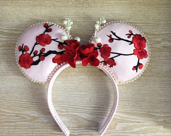 Cherry Blossoms Mouse Ears, Minnie Mouse Ears, Mickey Mouse Ears, Japanese Mickey Ears