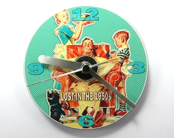 Lost in the 1950's, CD Clock, 1950's Retro CD Clock, 1950's Memorabilia Gifts.