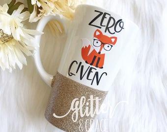 zero fox given // Personalized Coffee Mug // Glitter Dipped Coffee Mug