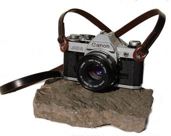 Hand Made Classic Leather Camera Strap with Ring Attachment