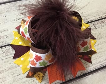 Thanksgiving Over The Top Bow Leaves Hair Bow Baby Over The Top Hair Bow Fall Hair Bows Thanksgiving Hair Bow Baby Headband