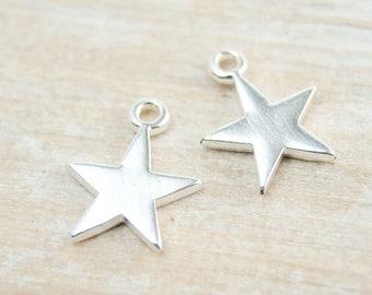 2 pcs. charm star silver pl.  #4502