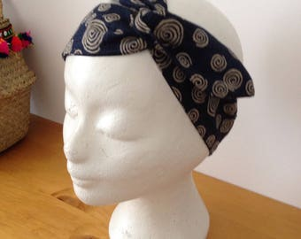 Headband for hair, turban headband, Japanese mode lzrune blue with beige spirals
