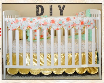 reversible scalloped crib rail cover pdf sewing pattern with free video tutorial