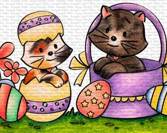 Image #33 - Easter Kitties - Digital Stamps - Naz - Line art only - Black and White