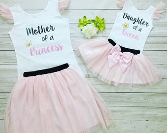 Mother Daughter matching tutu outfits , Mommy and me outfits, Birthday celebration Mommy and Me outfits