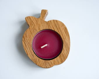 Apple Shaped Wooden Tealight Holder