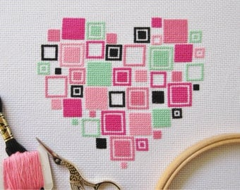 Easy heart cross stitch pattern PDF, modern geometric squares heart, simple quick chart, learn to cross stitch, full beginner's instructions