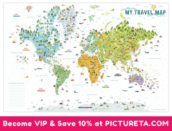 Travel world map kids room decor kids gift interactive like this item gumiabroncs Choice Image